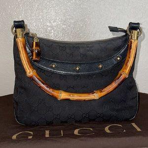 Authentic Gucci signature GG bamboo handle purse